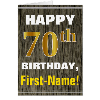 Bold, Faux Wood, Faux Gold 70th Birthday + Name Card
