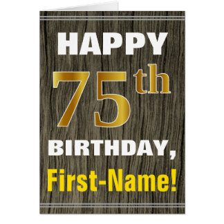 Bold, Faux Wood, Faux Gold 75th Birthday + Name Card