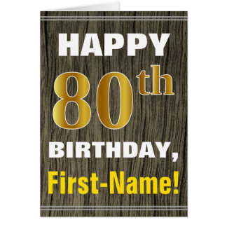 Bold, Faux Wood, Faux Gold 80th Birthday + Name Card