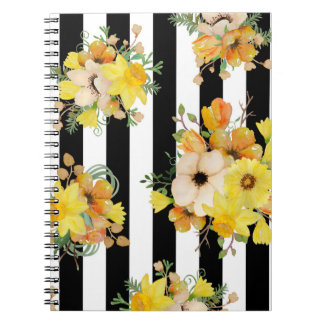 Bold floral design yellow flowers notebook