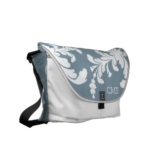 Bold Floral Monogram Bag in Blue and Ice Courier Bag