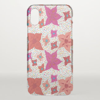 Bold Floral Pattern Clear iPhone x Case