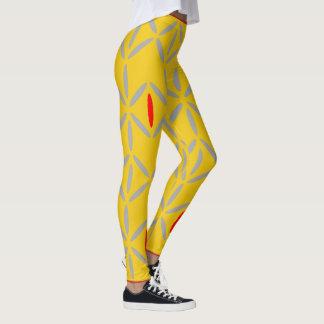 Bold funky mustard yellow red leggings
