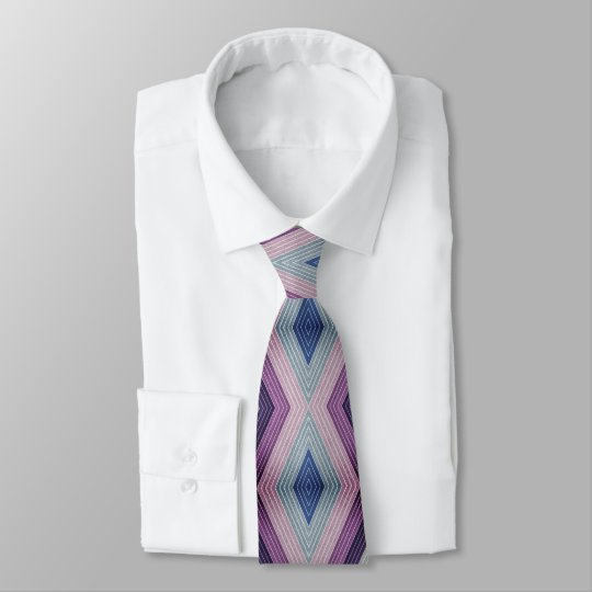 Bold Geometric Pattern in Mauve and Blue Tie
