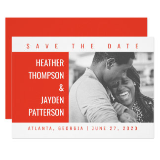 Bold Geometric Photo Save the Date | Red Card