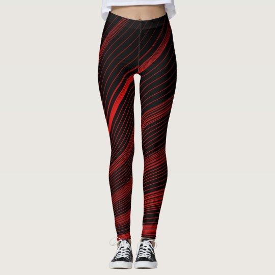 Bold Geometric Red & Black Spandex Blend Leggings
