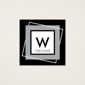 Bold Geometric Square Frame Monogram Square Square Business Card