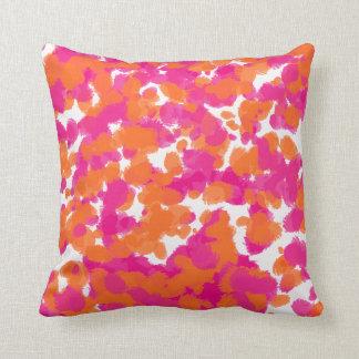 Bold Girly Hot Pink Fuchsia Orange Paint Splashes Throw Pillow