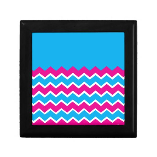 Bold Girly Hot Pink Teal Chevron ZigZag Pattern Gift Boxes