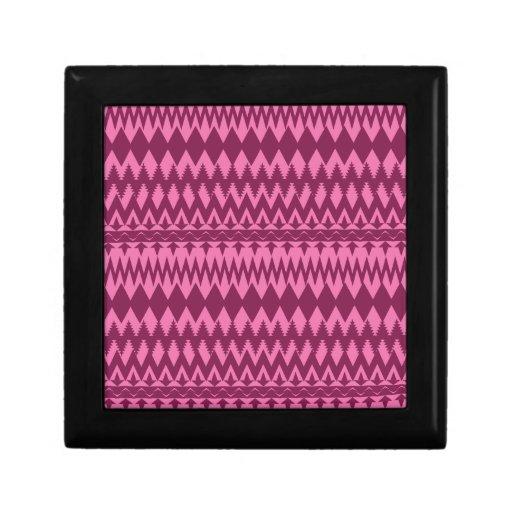 Bold Girly Magenta Pink Chevron Tribal Pattern Gift Box