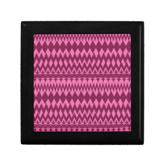 Bold Girly Magenta Pink Chevron Tribal Pattern Small Square Gift Box