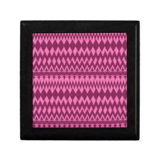 Bold Girly Magenta Pink Chevron Tribal Pattern Small Square Gift Box