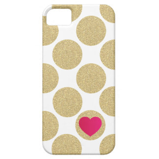 Bold Glitter Gold Dot With Heart and Custom Color iPhone 5 Cover