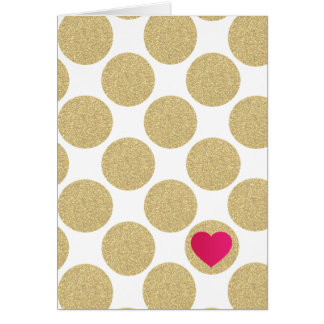 Bold Glitter Gold Dot With Heart and Custom Color Note Card