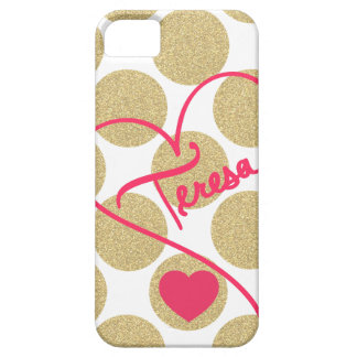 Bold Glitter Gold Dots Heart and Handwritten Name Barely There iPhone 5 Case