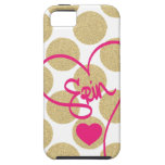 Bold Glitter Gold Dots Heart and Handwritten Name iPhone 5 Cases