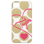 Bold Glitter Gold Dots Heart and Handwritten Name Cover For iPhone 5/5S