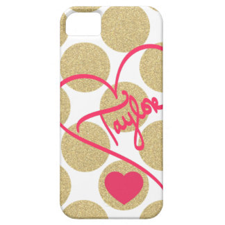 Bold Glitter Gold Dots Heart and Handwritten Name iPhone 5 Case