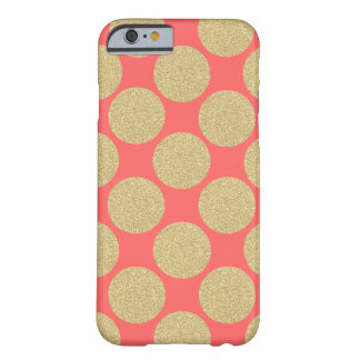 Bold Glitter Gold Dots with custom background Barely There iPhone 6 Case