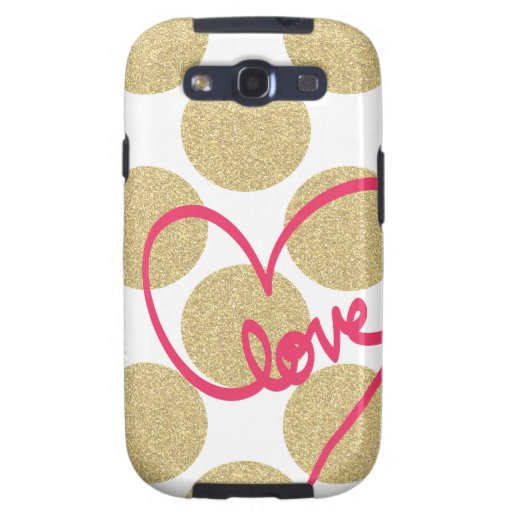Bold Glitter Gold dots with Love Design Galaxy SIII Covers
