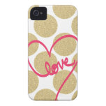 Bold Glitter Gold dots with Love Design Case-Mate iPhone 4 Case