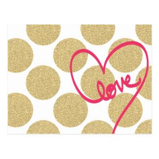 Bold Glitter Gold dots with Love Design Postcard