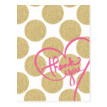 Bold Glitter Gold dots with Thank You Design Postcard
