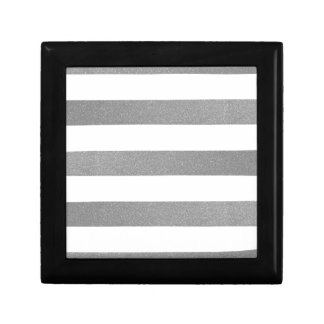 Bold Glitter Silver Stripes Keepsake Boxes
