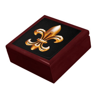 Bold Gold Fleur de Lis Large Square Gift Box