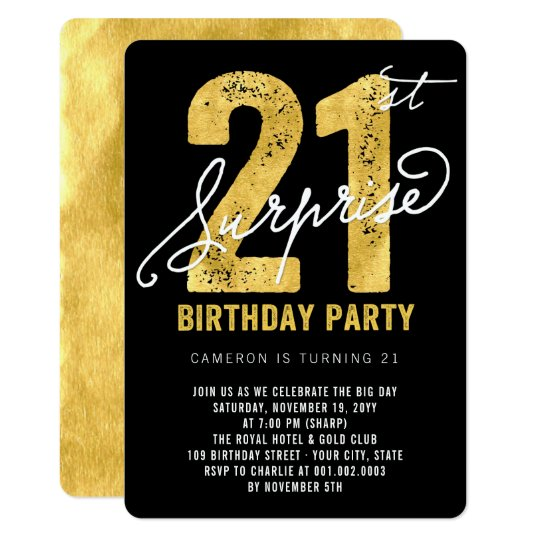 Bold Gold Foil Surprise 21st Birthday Party Invite