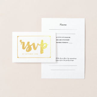 Bold Gold Hand-Lettered RSVP Foil Card
