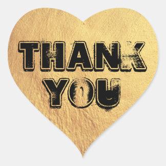 Bold Gold Heart Thank You Heart Sticker