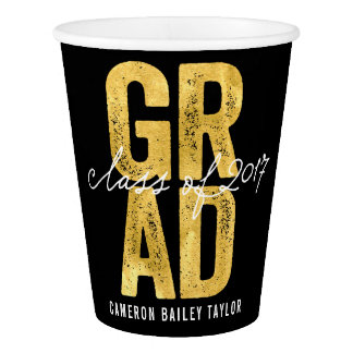 Bold Grad 2017 Gold Graduation Party Paper Cup