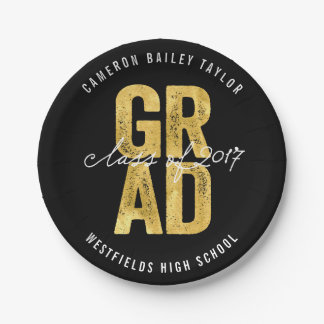 Bold Grad 2017 Gold Graduation Party Paper Plates
