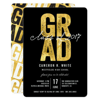 Bold GRAD Gold Foil Class of 2017 Party Invite