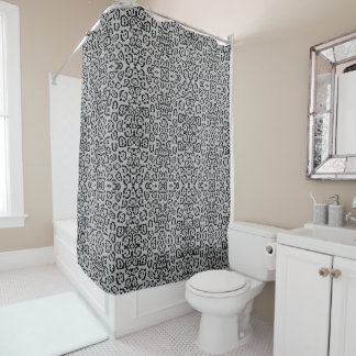 Bold Gray Leopard Animal Cat Print Silver Panther Shower Curtain