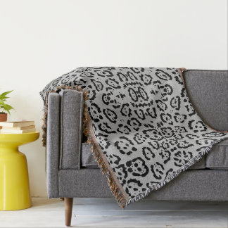 Bold Gray Leopard Animal Cat Print Silver Throw Blanket
