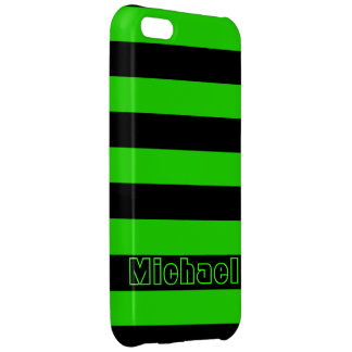 Bold Green and Black Stripes Pattern Case For iPhone 5C