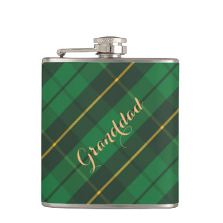 Bold Green & Black Plaid Tartan for Him Flask