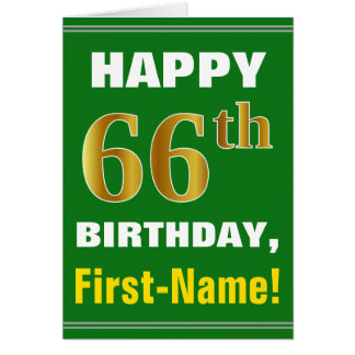 Bold, Green, Faux Gold 66th Birthday w/ Name Card
