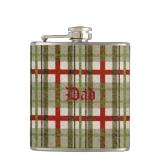 Bold Green & Red Plaid Tartan for Father's Day Flasks