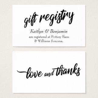 Black wedding registry business cards business card printing bold handwriting script simple wedding registry business card junglespirit Image collections