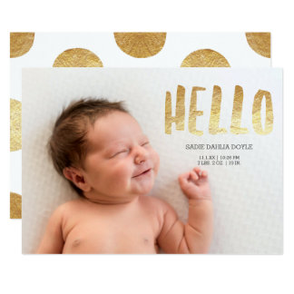 Bold Hello Faux Gold | Photo Birth Announcement
