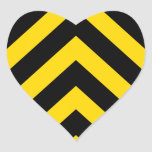Bold Highway Traffic Bumble Bee Chevrons Heart Sticker