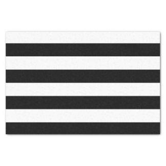 Bold Horizontal Black and White Stripes Tissue Paper
