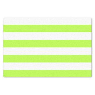 Bold Horizontal Lime Green and White Stripes Tissue Paper