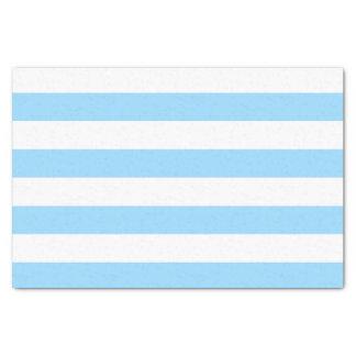 Bold Horizontal Pastel Blue and White Stripes Tissue Paper