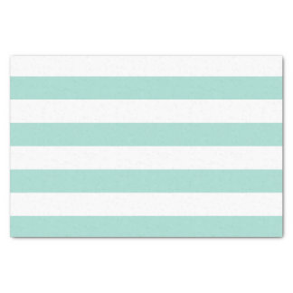 Bold Horizontal Pastel Seafoam Green White Stripes Tissue Paper