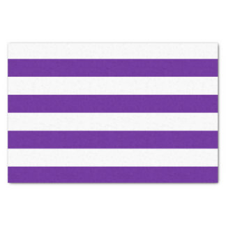 Bold Horizontal Plum Purple and White Stripes Tissue Paper
