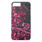 Bold Hot Pink Black Elegant Floral iPhone 8 Plus/7 Plus Case